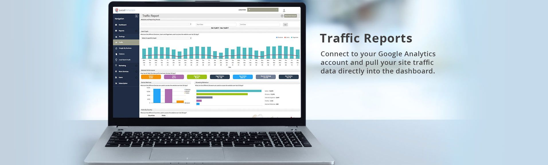 Website Traffic Report | Local Immersion | Marketing Tools